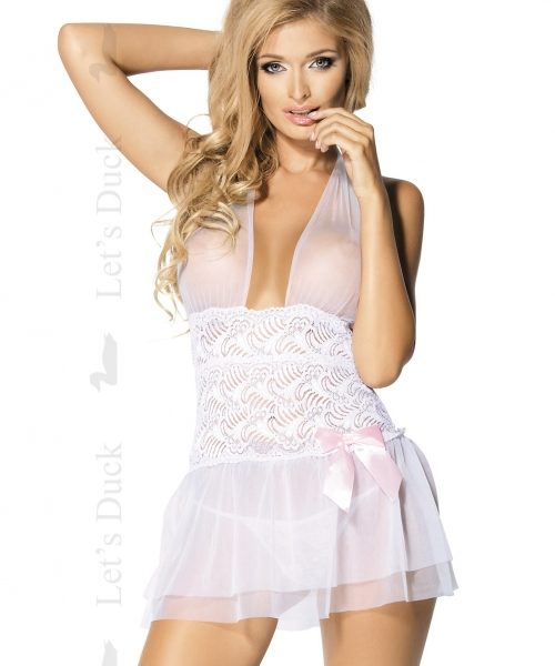 poza  Lenjerie sexy LETS DUCK – Babydoll Amore LD5 alb + CD Sensual Chill