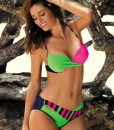 Poze produs Costum de baie Tamara Blu Scuro-Blight Green-Rosa Shocking M-399 (3) Costume baie noi